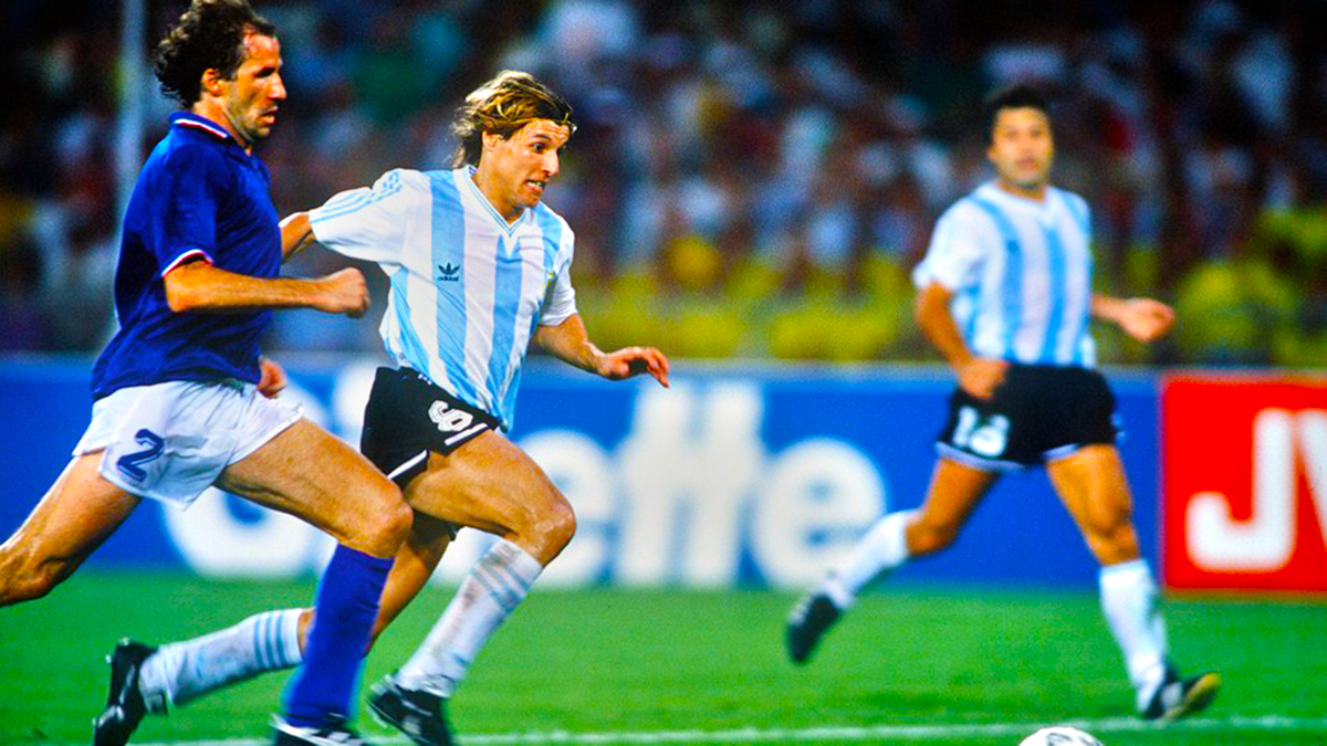 1990 World Cup Semi Final Naples Italy Franco Baresi races for
