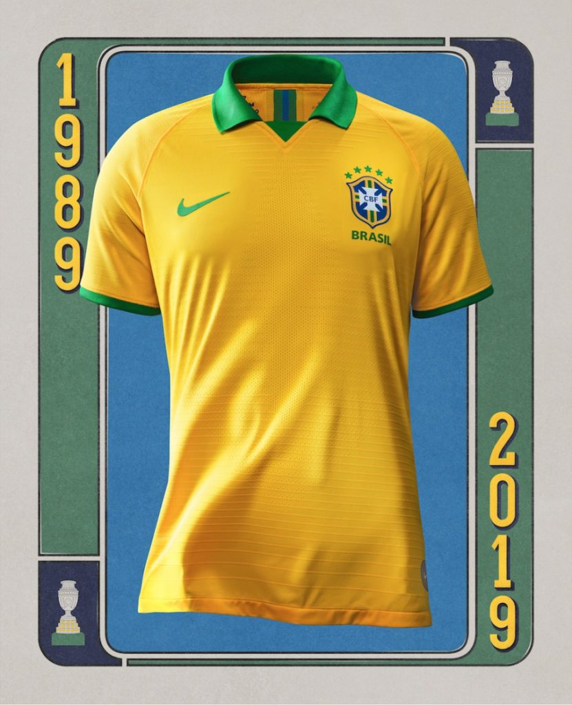 cf5c13e5f3e ... player numbers and details on the sleeves are blue. The Brazilian  National Team will debut the 2019-20 Brasil Copa America 100th Anniversary  Jersey ...